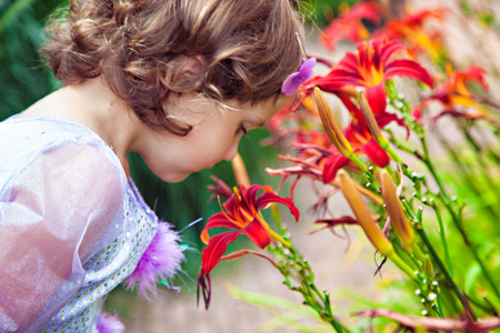 tiger lily: Adorable girl sniffing flowers of tiger lily