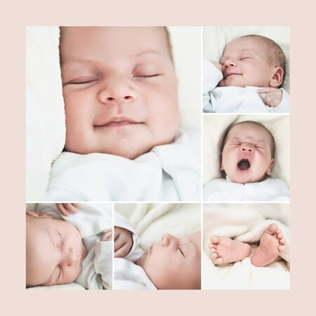 body parts: New born baby composition - expressions and body parts Stock Photo