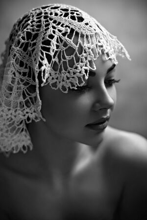 amish: Portrait Of A Female Model In Lace Hat