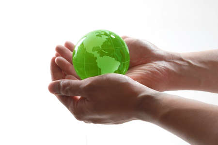 Wereld in handen  Stockfoto