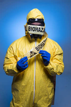 protective suit: Ebola Outbreak Stock Photo