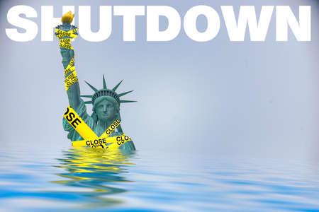 Government Shutdown Liberty yellow tape Stock Photo