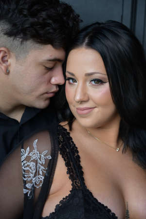 Pregnant couples wearing black clothes Stock Photo