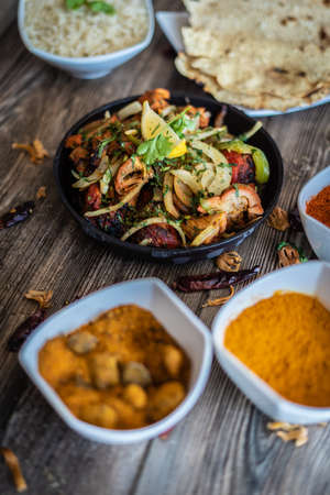 mouth watering indian restaurant food platter
