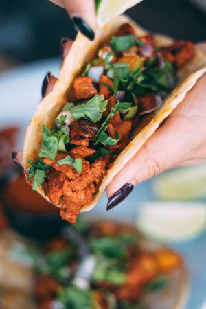 A plate of tacos and tortilla snacks Standard-Bild