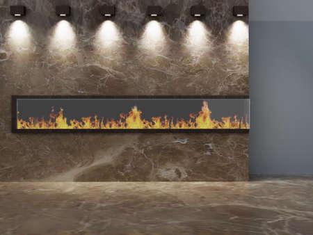 Romantische Kamin Wand mit Lichtern Standard-Bild