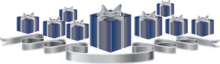 objects with clipping paths: Pile of Gift Boxes with a silver ribbon