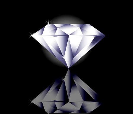reflexion: Shinny diamante en fondo negro con la reflexión Vectores