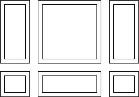 Decorative frames for walls or backgrounds. Interior design decoration panels. Wainscoting frame Vector Illustration