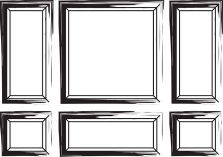 Decorative frames for walls or backgrounds. Interior design decoration frames. Painted brush effect. Wainscoting Vector frame Vettoriali