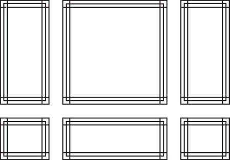 panels: Decorative frames for walls or backgrounds. Interior design decoration panels. Wainscoting frame Vector Illustration
