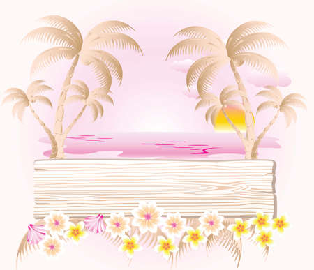 wood panel: Summer holidays background with wood panel. Sun, palms, flowers, coconut water. Vector Illustration