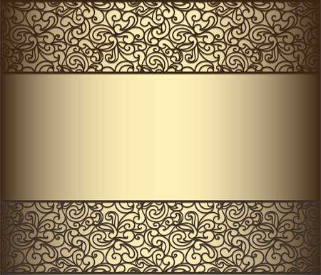 marriage invitation: Vintage lace background for envelope, card or invitation in golden color. Vector Illustration