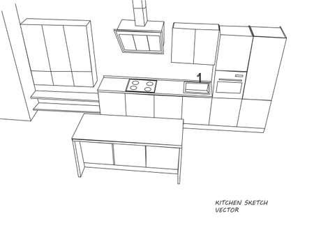 kitchen furniture: Kitchen furniture sketch. Vector Illustration