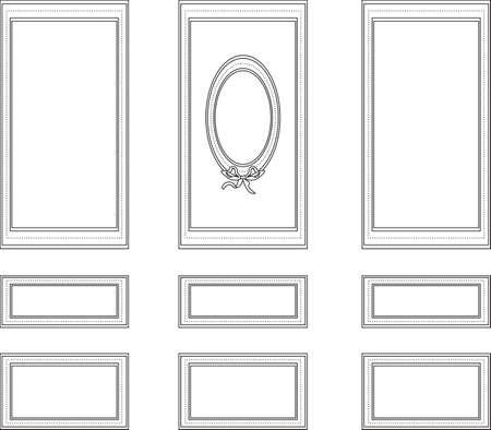 Decorative frames for walls or backgrounds. Interior design decoration panels. Wainscoting Vector frame