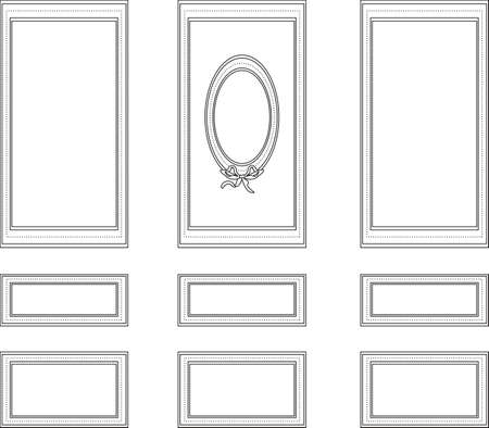 panels: Decorative frames for walls or backgrounds. Interior design decoration panels. Wainscoting Vector frame