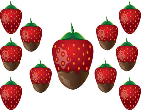 indulgent: Delicious chocolate-dipped red strawberry. Vector