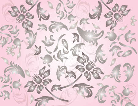 shinny: Classic shinny flower ornament pattern in pale red background. Vector