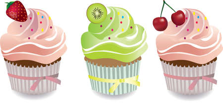 whipped cream: Cupcake with strawberry, kiwi, red cherry and whipped cream. Vector Illustration