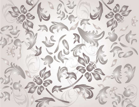 shinny: Classic shinny flower ornament pattern in pale gray background. Vector