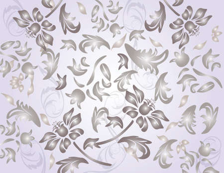 shinny: Classic shinny flower ornament pattern in pale violet background. Vector