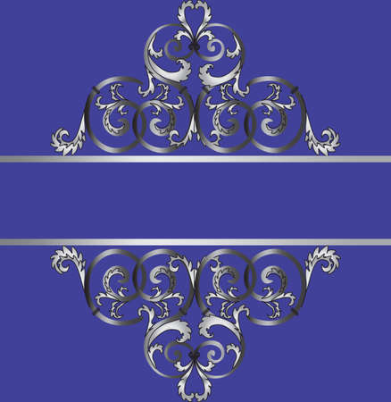 royal blue: Invitation card with classic silver royal ornament. Royal blue color. Vector