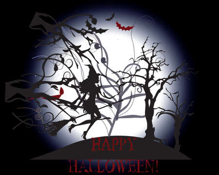 night moon: Happy Halloween background. Silhouette of Witch flying in the woods. Vector