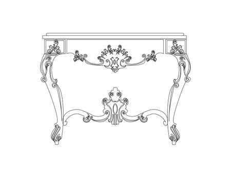 old furniture: Classic royal table with luxurious ornaments. Vector