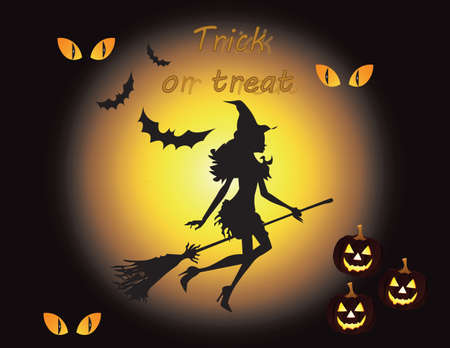 poster art: Happy Halloween background. Silhouette of Witch flying in the sunset. Vector Illustration