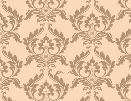 ornamented: Classic floral ornamented pattern background in beige. Vector Illustration