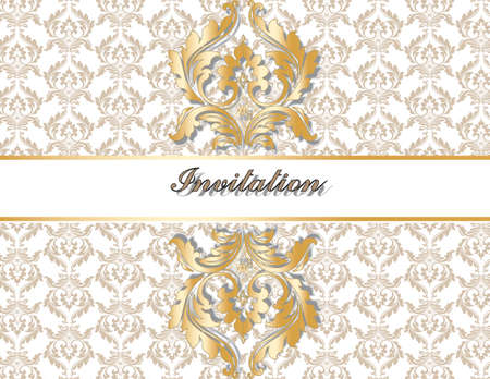 ornamented: Classic royal gold ornamented with shades card. Vector Illustration