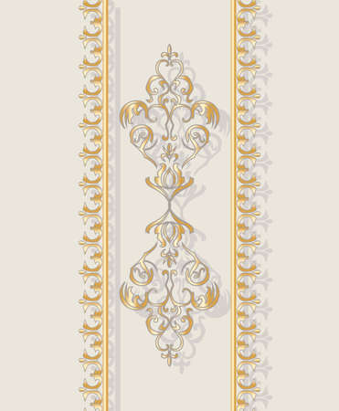 cream color: Invitation card with golden classic floral ornament. Cream color. Vector