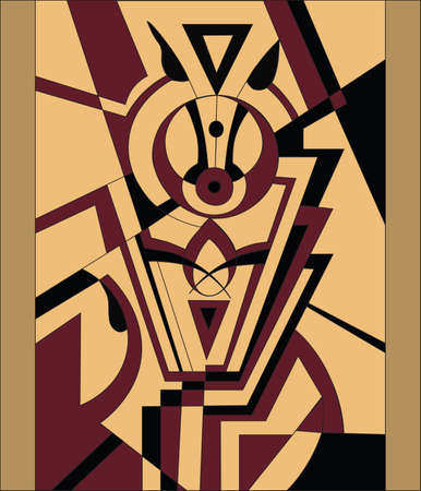 composition art: Abstract modern composition in yellow and red color. Representing a powerful horse with black eyes. Vector