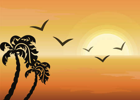 ocean view: Summer Tropical Sunset background. Ocean view. Vector