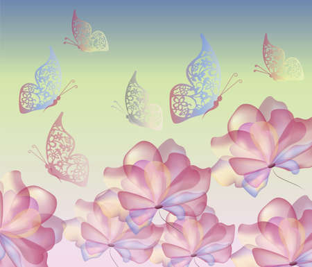 flawless: Flawless flowers and butterflies. Stylized, transparent and multicolored pastel flowers background. Vector Illustration