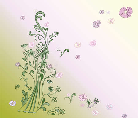 congregation: Natural background. Tree and flowers life. Vector