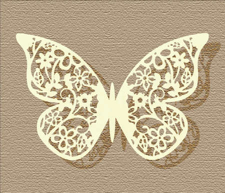 Lace Butterfly on texture background in beige colors. Vector