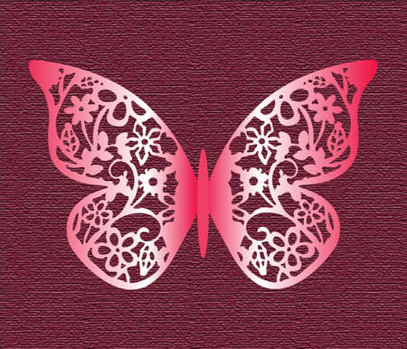 butterfly flower: Lace Butterfly on texture background in red colors. Vector Illustration