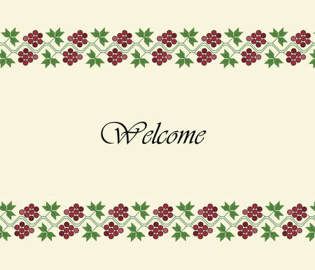 Welcome design background with traditional grapes ornament Vectores