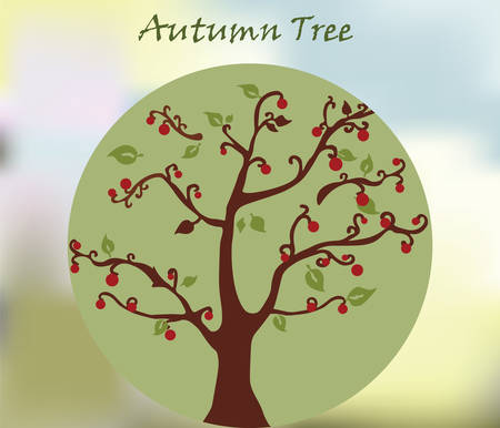 sage: Autumn environment tree with leaves in golden sage shades.  Illustration
