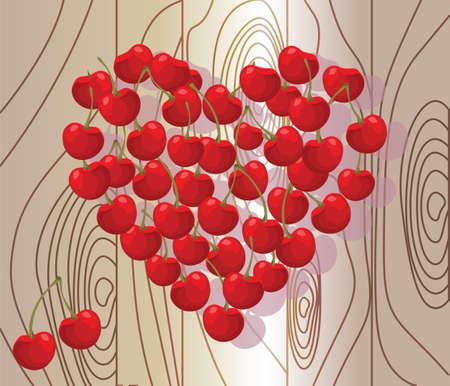 cherry wood: Love heart summer cherry on wood background. Vector
