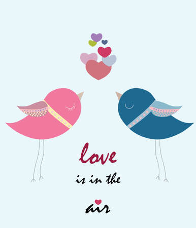 pigeons: Two pigeons love. Spring Summer romantic background with flowers Illustration
