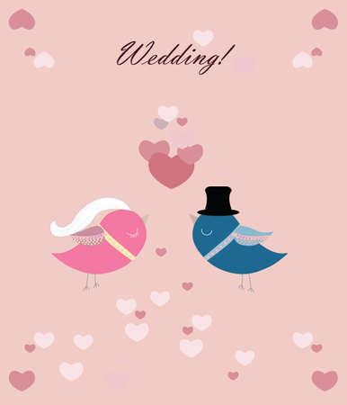 pigeons: Two pigeons wedding ceremony with love hearts. Vector Illustration