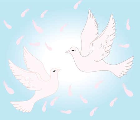 palomas volando: Dos palomas volando en el cielo del amor. Vector Vectores