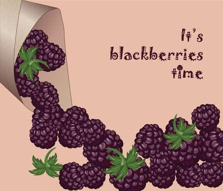 fruits juice: Blackberries Time! Fresh and juicy dessert. Vector