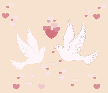 palomas volando: Dos palomas volando en el cielo con corazones de amor. Vector