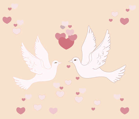 pigeons: Two pigeons flying in sky with love hearts. Vector Illustration