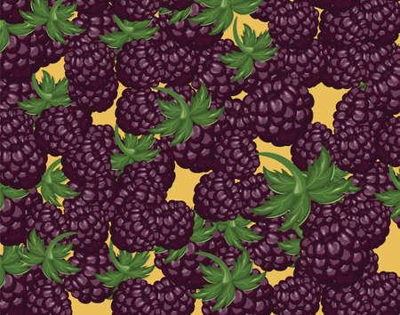 bramble: Blackberries delicious dessert. Vector