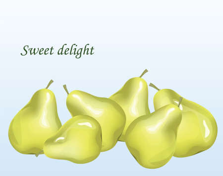 delight: Pears fruits background. Sweet delight text. Vector Illustration