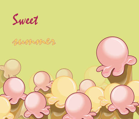 softy: Ice Cream Background. Sweet summer text. Vector Illustration